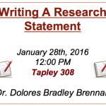 **Thurs., Jan. 28th**Writing A Research Statement